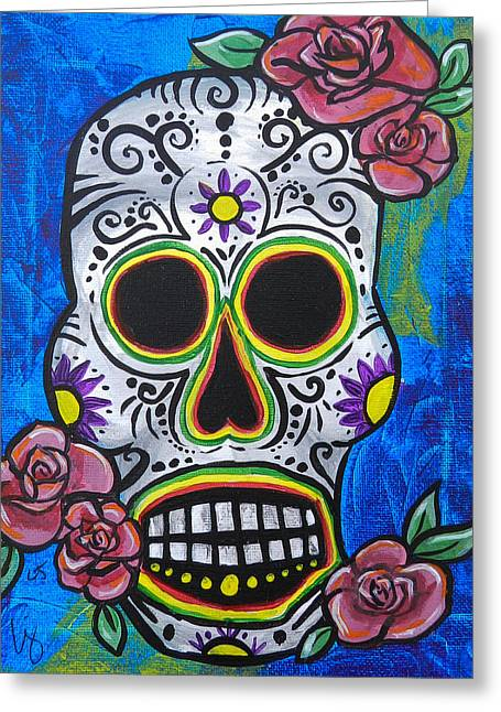 Marigold Festival Greeting Cards - Blue Day of the Dead Skull Greeting Card by Lovejoy Creations