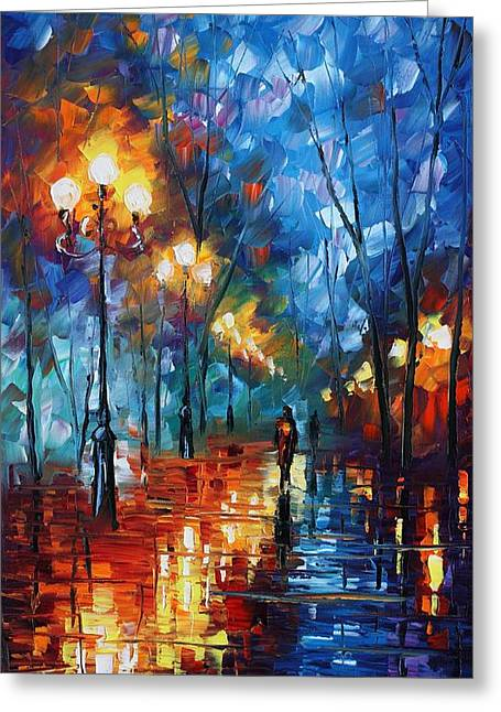 Famous ist Paintings Greeting Cards - Blue Day - Palette Knife Oil Painting On Canvas By Leonid Afremov Greeting Card by Leonid Afremov