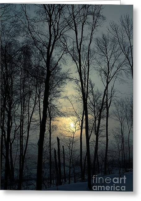 Connecticut Winter Greeting Cards - Blue Daybreak Greeting Card by Karol  Livote