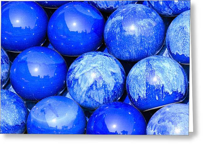 Decorativ Photographs Greeting Cards - Blue decorative gems Greeting Card by Toppart Sweden