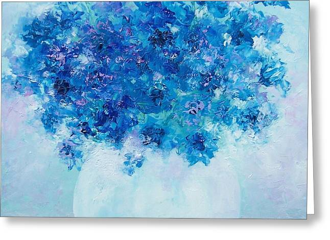 Vase Of Flowers Greeting Cards - Blue Delphiniums Greeting Card by Jan Matson