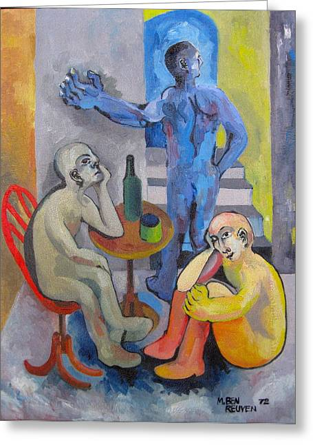 Basement Art Paintings Greeting Cards - Blue Departure Greeting Card by Moshe BenReuven