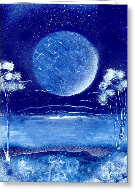 Marc Chambers Greeting Cards - Blue Desert Night Greeting Card by Marc Chambers