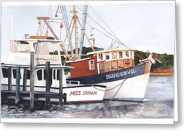 Boats At Dock Greeting Cards - Blue  Devil and Miss Sarah Greeting Card by Linda Hester