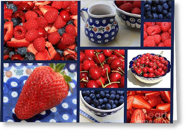 Pottery Pitcher Greeting Cards - Blue Dishes and Fruit Collage Greeting Card by Carol Groenen