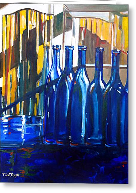 Wine-glass Greeting Cards - Blue Dog Blue Nun Greeting Card by Terry Cox Joseph