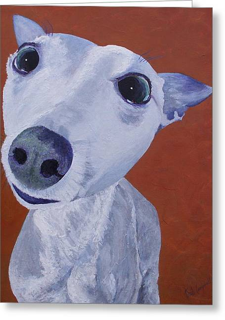 Dog Close-up Paintings Greeting Cards - Blue Dog Greeting Card by Trish Campbell