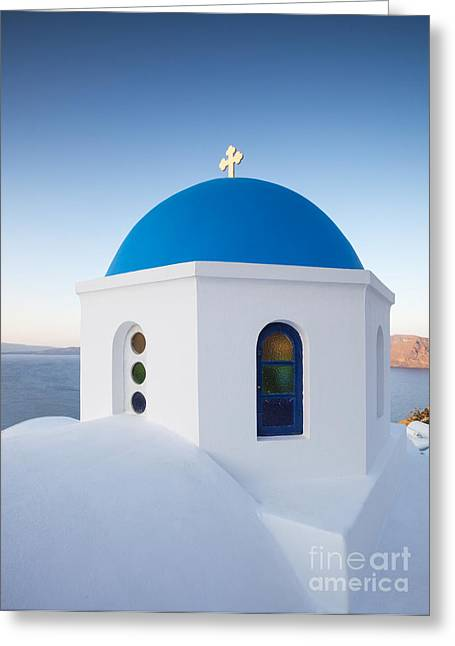 Greek Icon Greeting Cards - Blue domed church in Oia Santorini Greece Greeting Card by Matteo Colombo