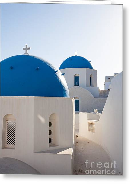 Greek Icon Greeting Cards - Blue domed churches of Oia - Santorini - Greece Greeting Card by Matteo Colombo