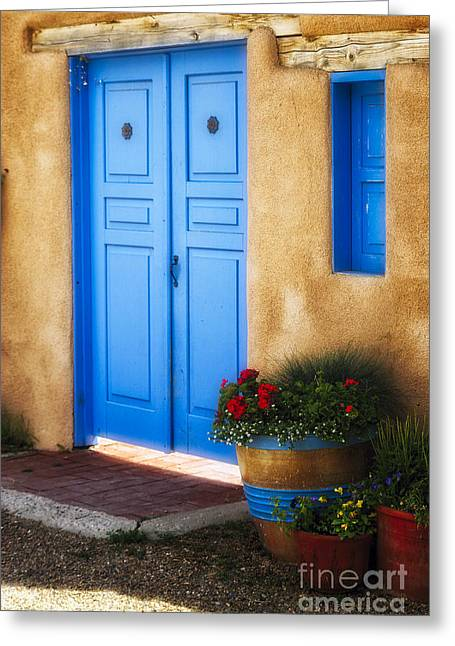 Taos Greeting Cards - Blue Door Adobe Walls Greeting Card by George Oze