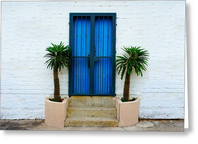Abstract Palm Trees Greeting Cards - Blue Door Greeting Card by Aged Pixel