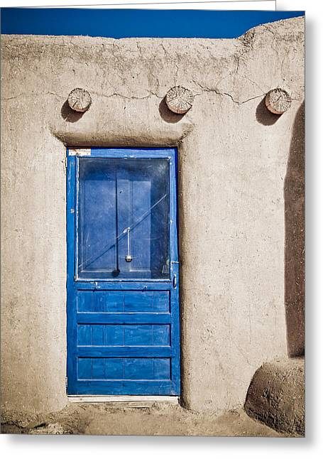 Adobe Greeting Cards - Blue Door and Bell Adobe Greeting Card by Marilyn Hunt