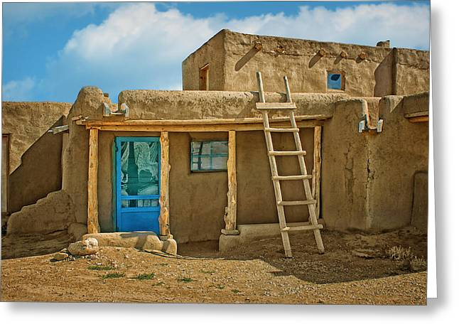 Native American Dwellings Greeting Cards - Blue Door and Ladder - Taos Pueblo Greeting Card by Nikolyn McDonald
