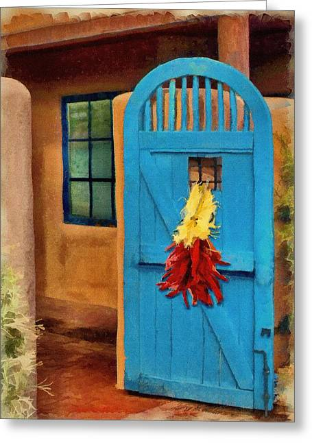 Adobe Digital Greeting Cards - Blue Door and Peppers Greeting Card by Jeff Kolker