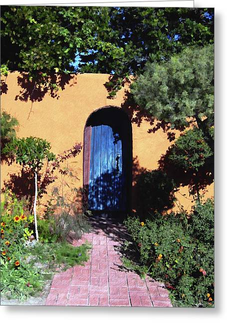 Adobe Digital Greeting Cards - Blue door at Old Mesilla Greeting Card by Kurt Van Wagner