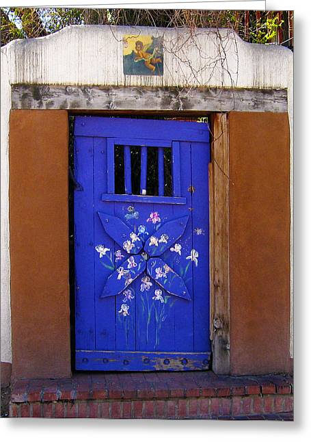 Blue Door At Old Santa Fe Greeting Card by Kurt Van Wagner
