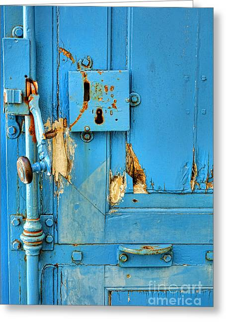 Torn Greeting Cards - Blue Door Blues Greeting Card by Olivier Le Queinec
