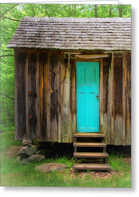 Roaring Fork Road Photographs Greeting Cards - Blue Door Greeting Card by Carolyn Derstine