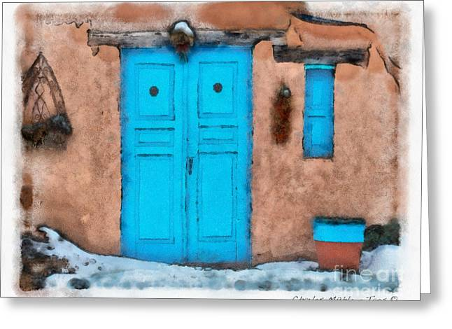 Adobe Greeting Cards - Blue Door Greeting Card by Charles Muhle