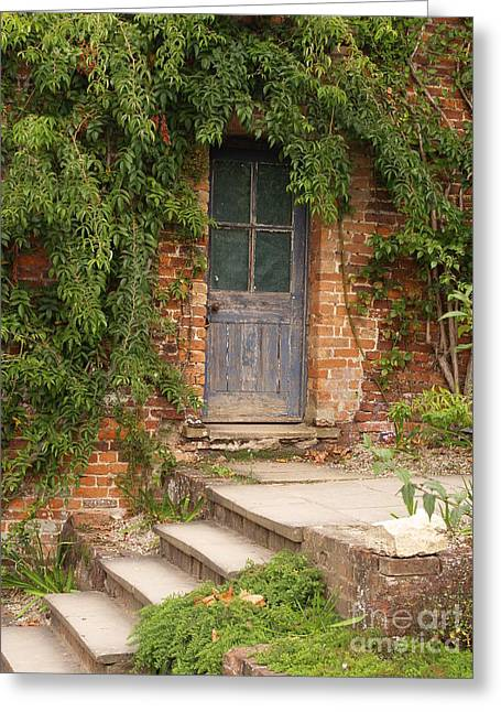 Overgrown Greeting Cards - Blue Door Greeting Card by Chris Thaxter