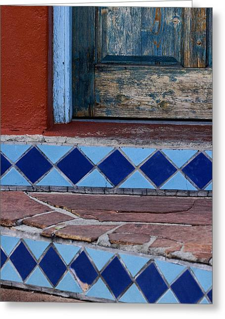 Blue Doors Greeting Cards - Blue Door Colorful Steps Santa Fe Greeting Card by Carol Leigh