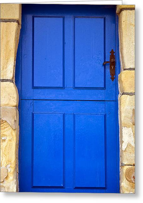 Old House Photographs Photographs Greeting Cards - Blue Door Greeting Card by Frank Tschakert