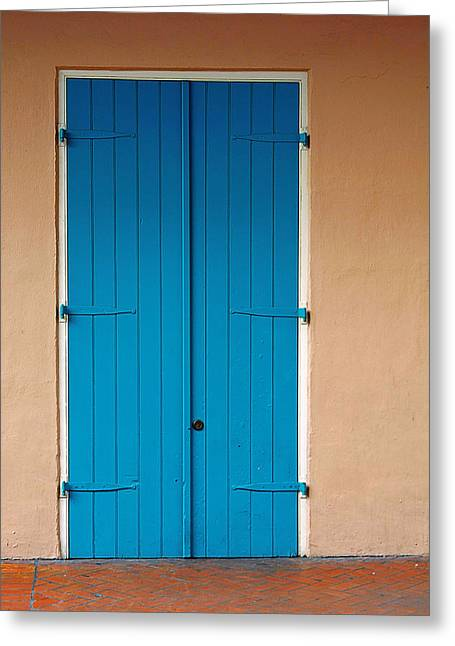 Bricks Greeting Cards - Blue Door in New Orleans Greeting Card by Christine Till