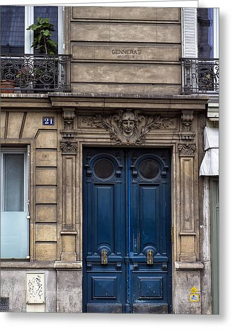 Entryway Greeting Cards - Blue Door in Paris Greeting Card by Georgia Fowler