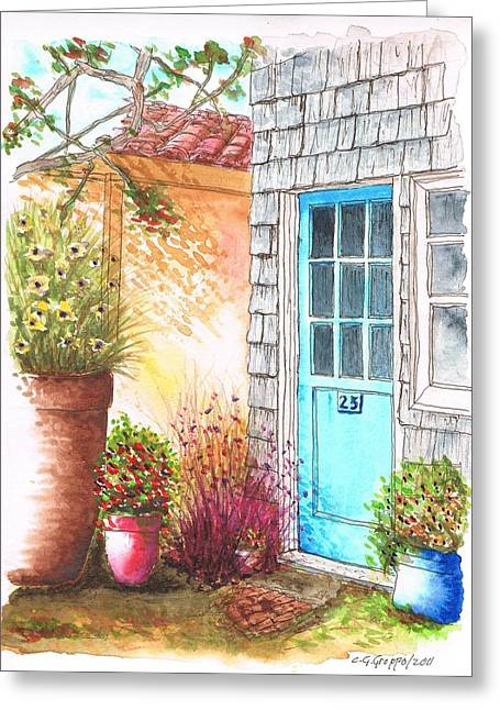 Scenic Buildings Drawings Greeting Cards - Blue door in Venice Beach - California Greeting Card by Carlos G Groppa