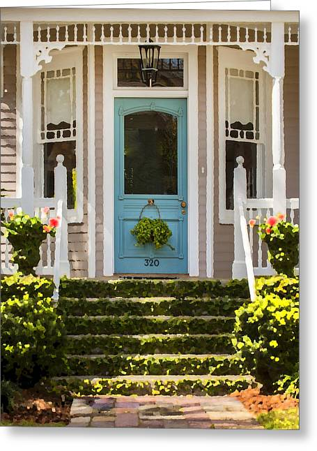 Historic Home Greeting Cards - Blue Door  Ivy Stairs Greeting Card by Rich Franco