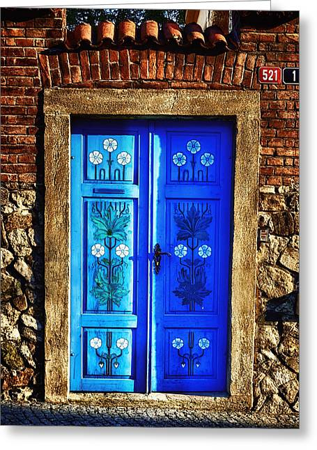 Painted Wood Greeting Cards - Blue Door Greeting Card by Joan Carroll