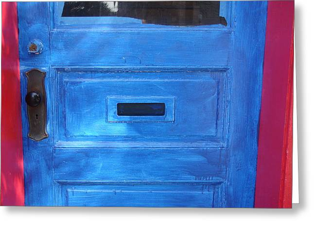 Inbox Greeting Cards - Blue Door mail Slot Greeting Card by Kenneth Summers