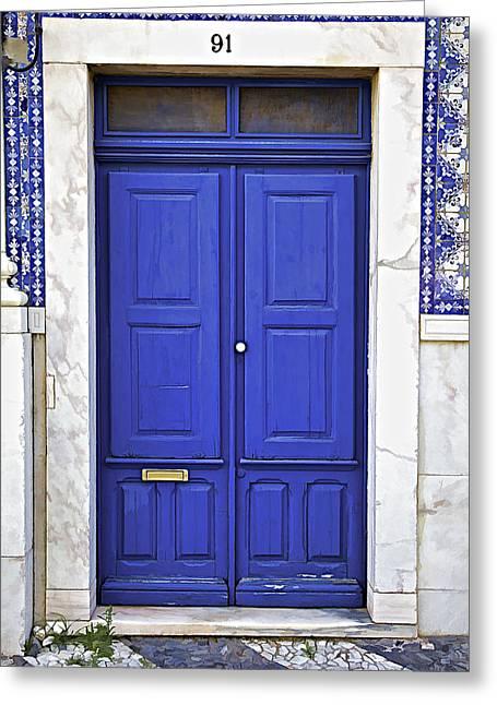 Entranceway Greeting Cards - Blue Door of Estremoz  Greeting Card by David Letts