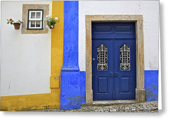 Medieval Entrance Greeting Cards - Blue Door of Medieval Obidos Greeting Card by David Letts