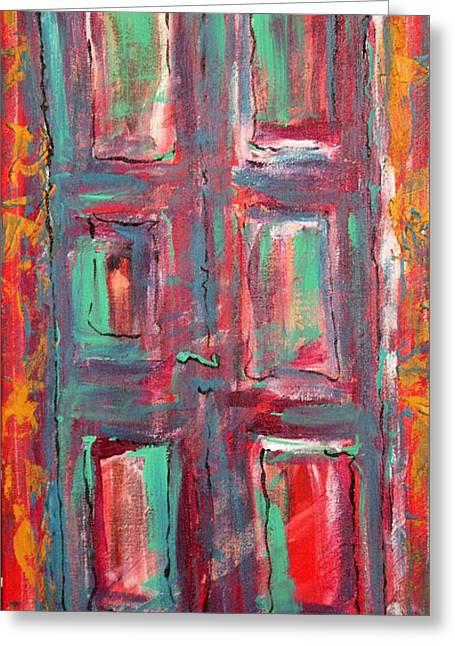 Prague Paintings Greeting Cards - Blue Door Greeting Card by Oscar Penalber
