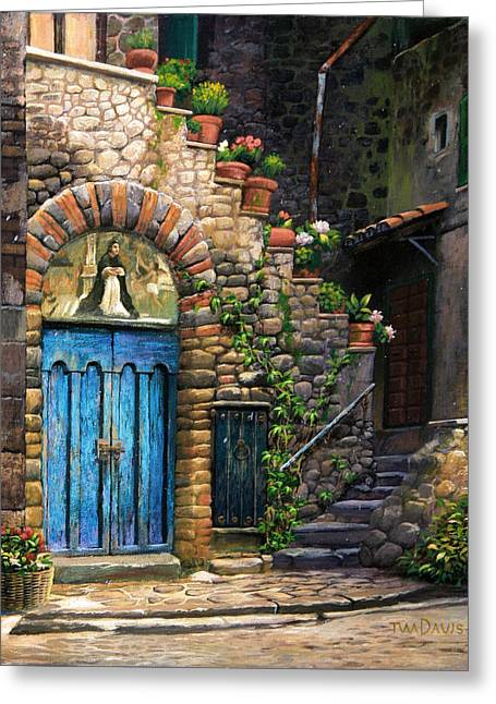 Wooden Stairs Greeting Cards - Blue Door Greeting Card by Tim Davis