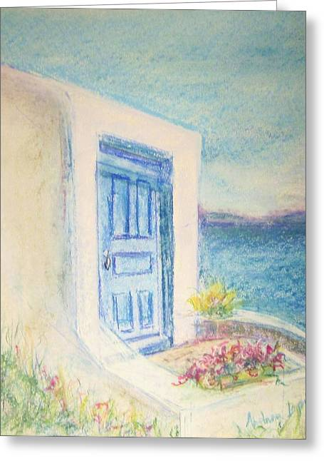 Portal Pastels Greeting Cards - Blue Door To The Sea Greeting Card by Andrea Flint Lapins