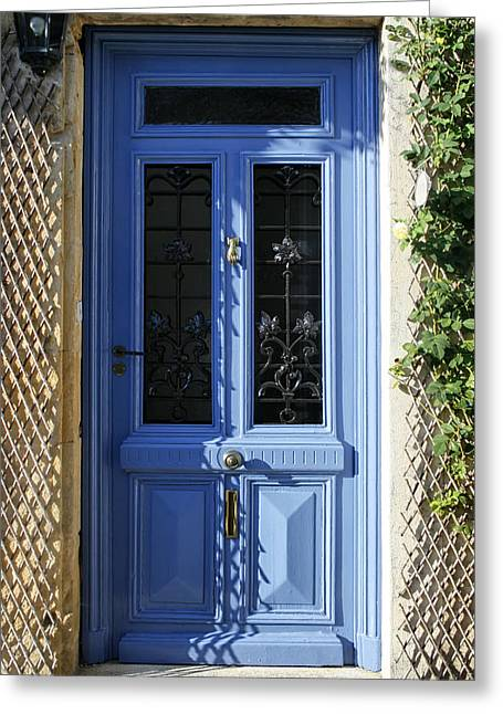 Blue Door With Dappled Sunlight Greeting Card by Georgia Fowler