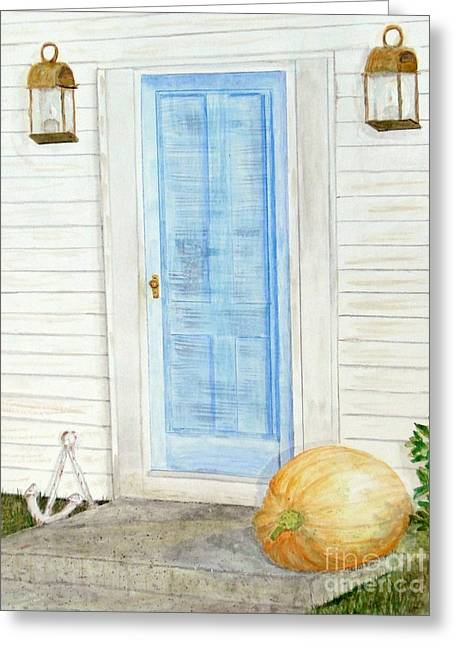 Facades Mixed Media Greeting Cards - Blue Door with Pumpkin Greeting Card by Barbie Corbett-Newmin