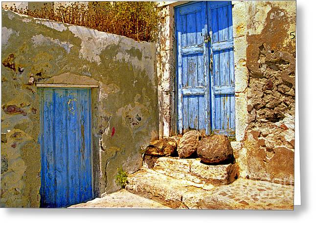 Madeline Ellis Greeting Cards - Blue Doors Of Santorini Greeting Card by Madeline Ellis