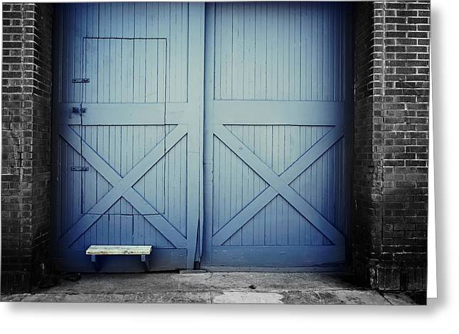 Entryway Greeting Cards - Blue Doors to a Stable Greeting Card by Mountain Dreams