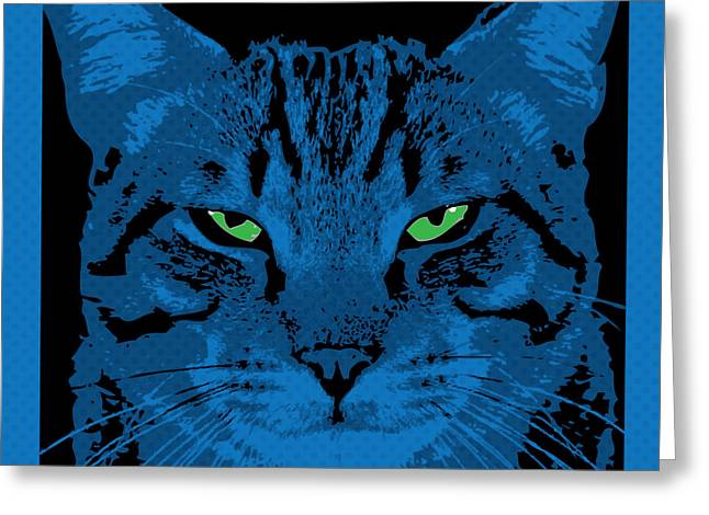 Comtemporary Art Greeting Cards - Blue Dot Cat Greeting Card by Gary Grayson