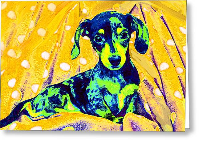 Weiner Dog Greeting Cards - Blue Doxie Greeting Card by Jane Schnetlage