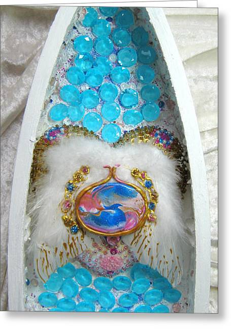 Caves Reliefs Greeting Cards - Blue dragon and his crystal cave Greeting Card by Heidi Sieber