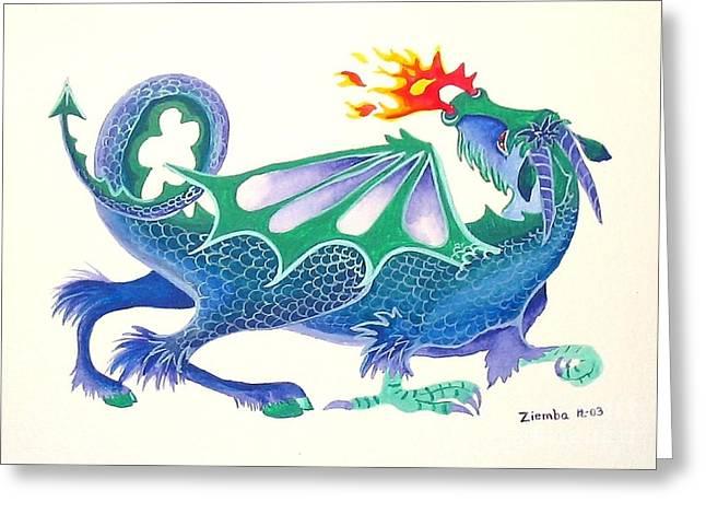 Lori Ziemba Greeting Cards - Blue Dragon Greeting Card by Lori Ziemba