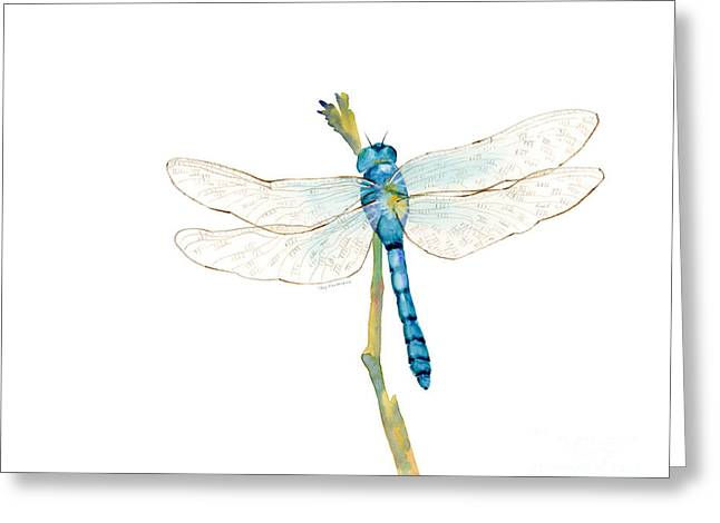 Dragonflies Greeting Cards - Blue Dragonfly Greeting Card by Amy Kirkpatrick
