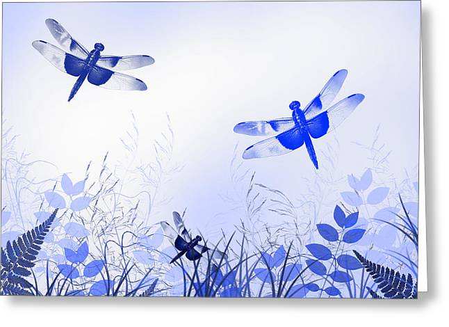 Dragon Concept Greeting Cards - Blue Dragonfly Art Greeting Card by Christina Rollo