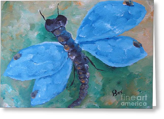 Blue -dragonfly Greeting Card by Beverly Livingstone