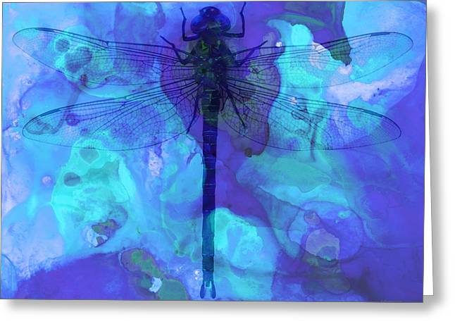Dragonflies Greeting Cards - Blue Dragonfly by Sharon Cummings Greeting Card by Sharon Cummings