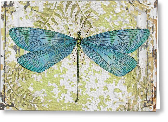 Metal Dragonfly Greeting Cards - Blue Dragonfly on Vintage Tin Greeting Card by Jean Plout